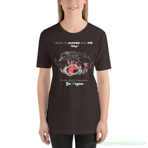 Chickens. Born to Suffer and Die. Why? IMPACT message Womens dark color Short-Sleeve T-Shirt - Vegan Hearts Club