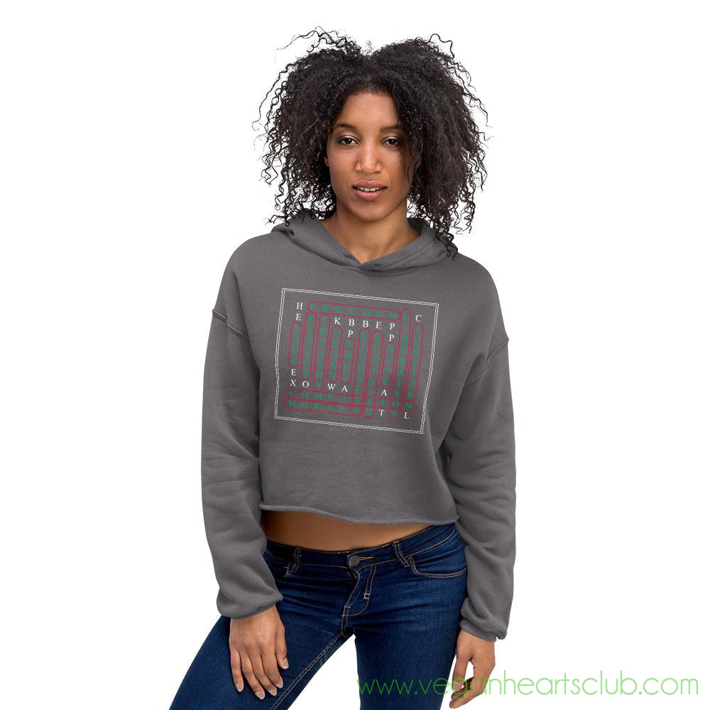 Vegan Word Search Womens dark color Crop Hoodie