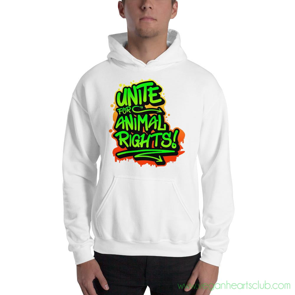 UNITE Graffiti green impact message Mens Hoodie - Vegan Hearts Club