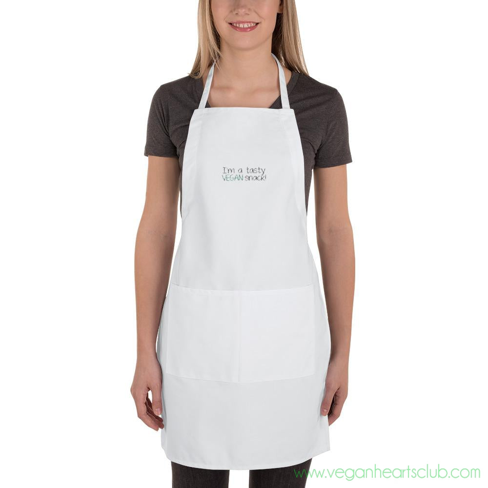 You're a tasty VEGAN snack!  Get cooking!  Embroidered Apron - Vegan Hearts Club