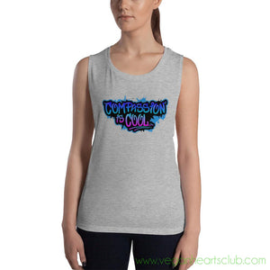 Compassion is COOL Blue Graffiti Womens Tank Top