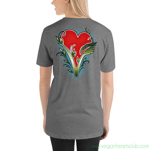 Vegan Hearts Club official logo (back print) Womens Short-Sleeve T-Shirt - Vegan Hearts Club