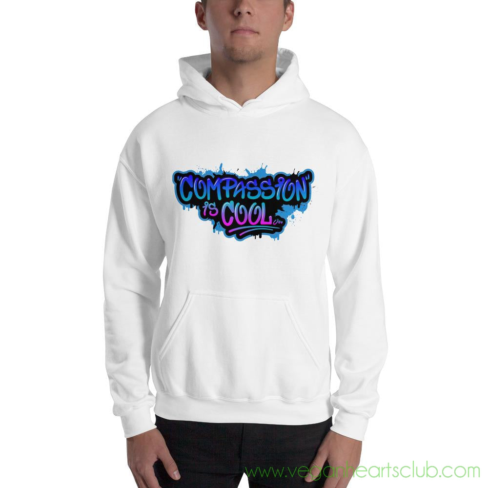 Compassion is COOL Blue Graffiti Mens Hoodie