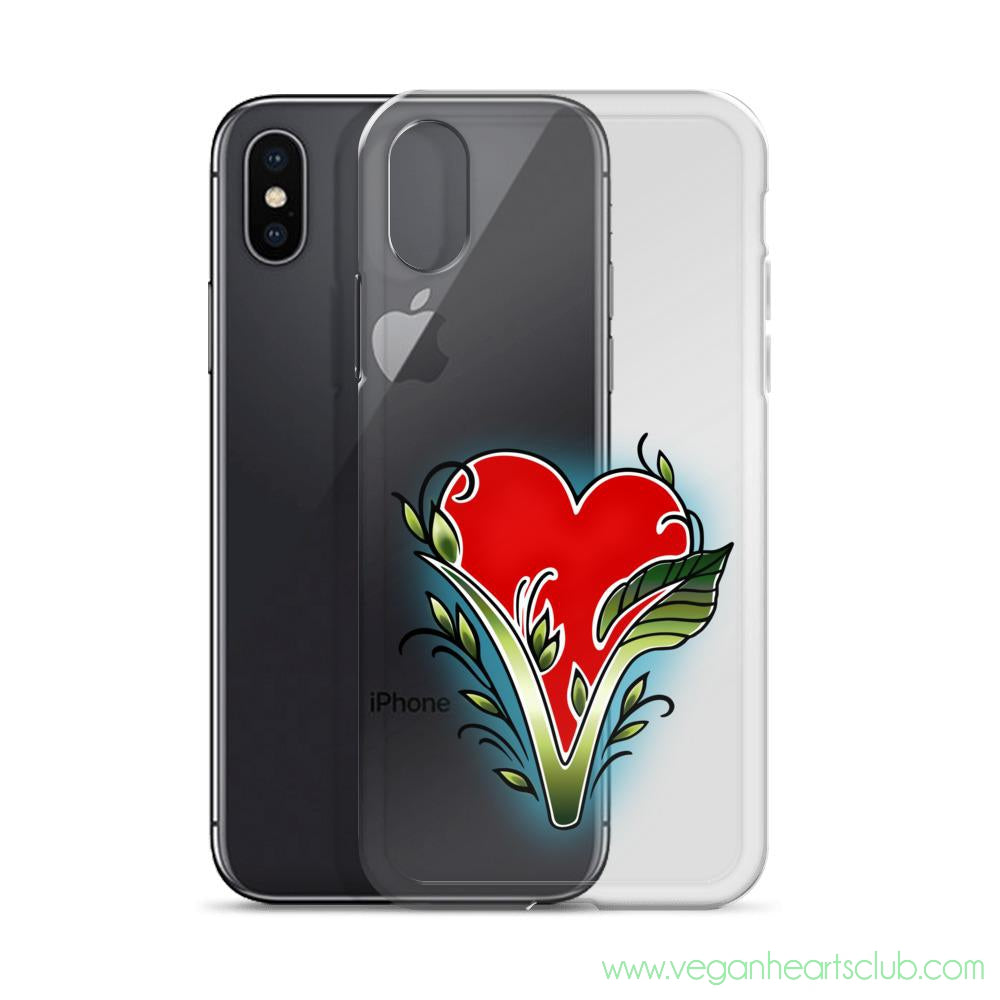 iPhone Case with Vegan Hearts Club official logo - Vegan Hearts Club