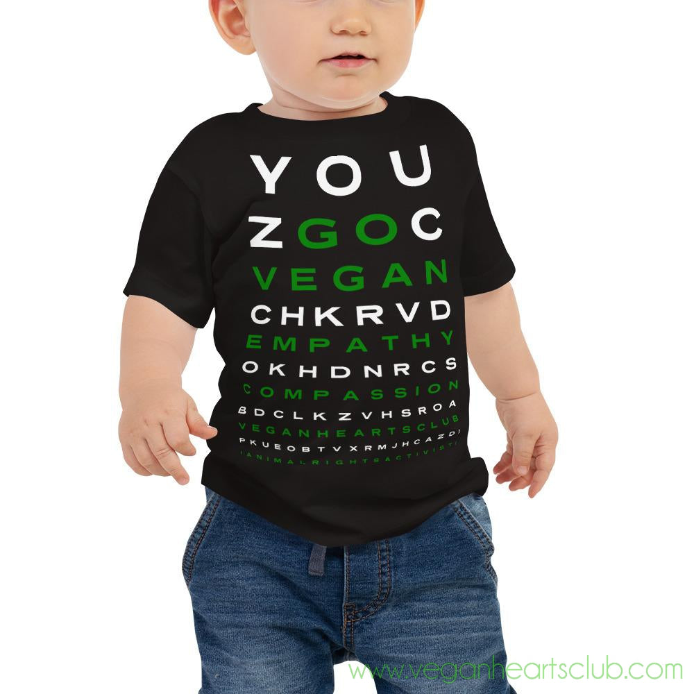 GO VEGAN Eye Chart Baby Jersey Short Sleeve Tee