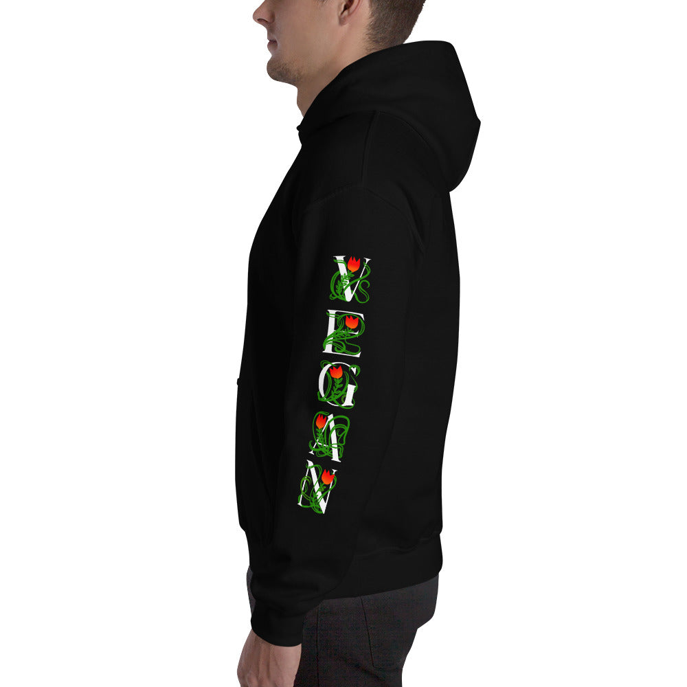 VEGAN Vine Sleeves Mens dark color Hoodie