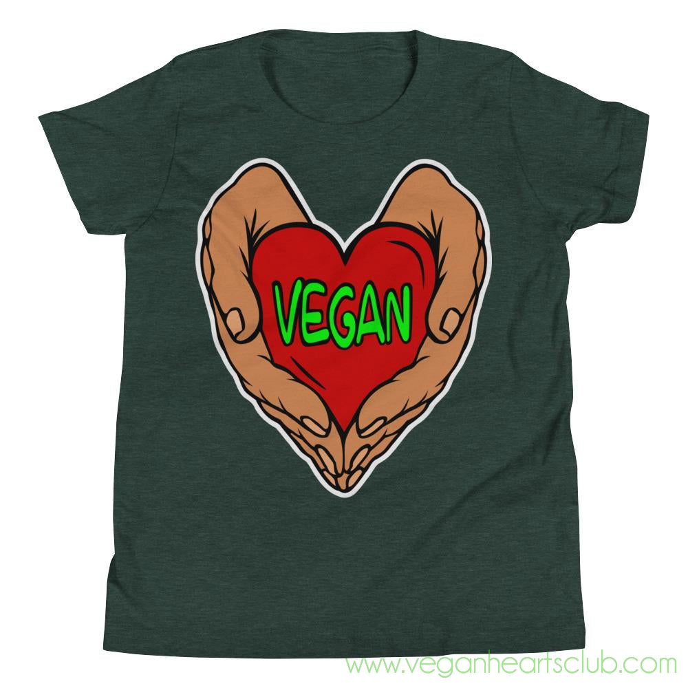 Vegan Heart In Your Hands Version 1A Youth Short-Sleeve T-Shirt