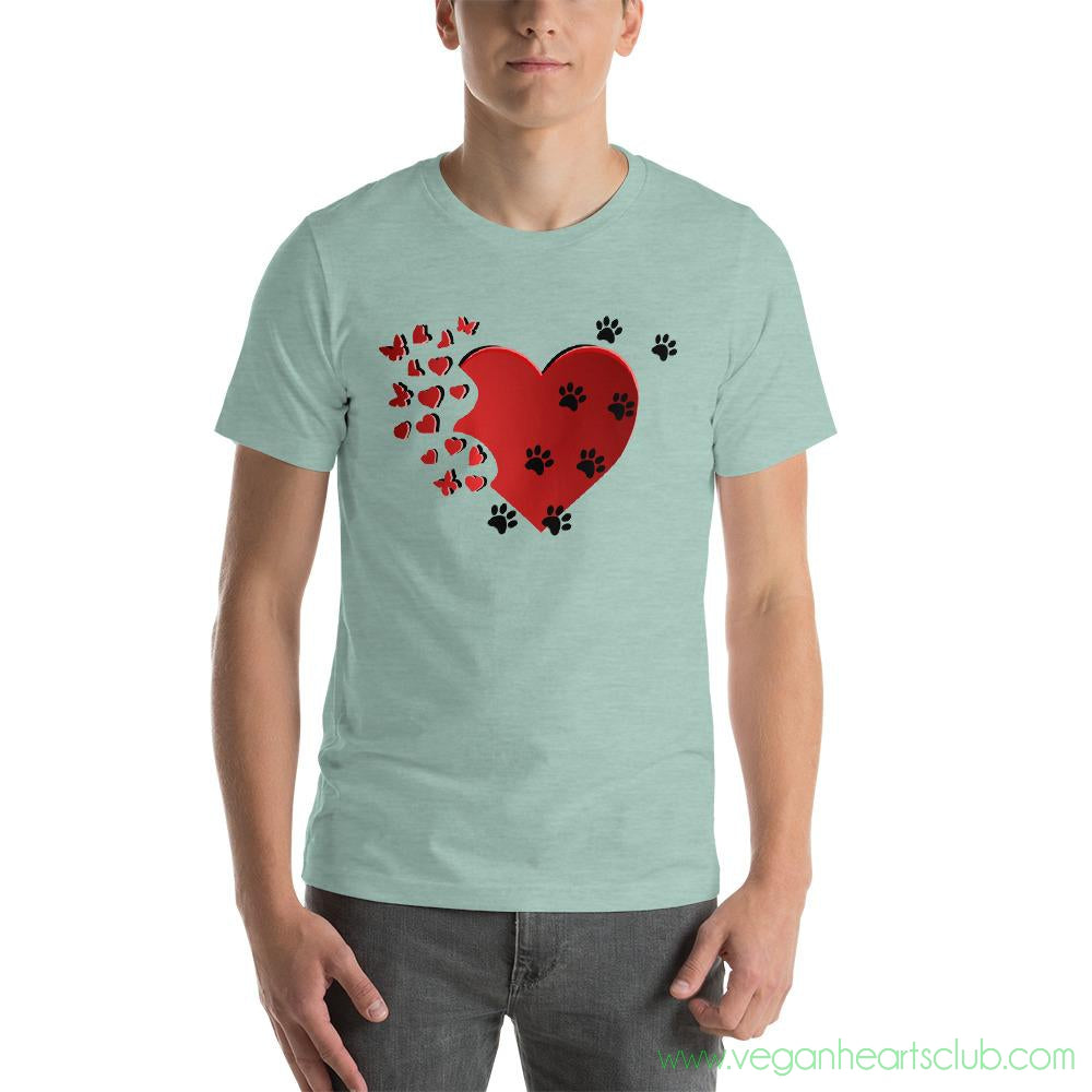 Cat Memories Paw Prints Mens light color Short-Sleeve T-Shirt - Vegan Hearts Club