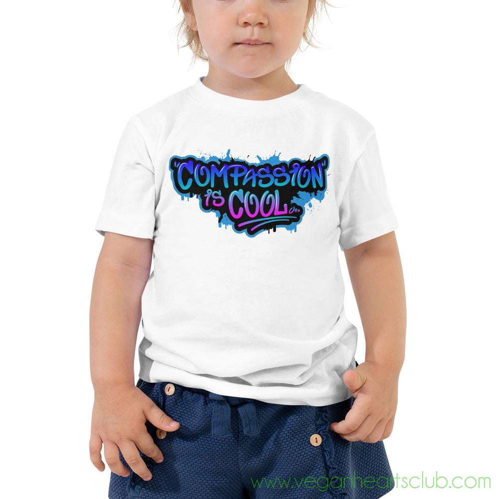Compassion is COOL Blue Graffiti Toddler Short Sleeve Tee