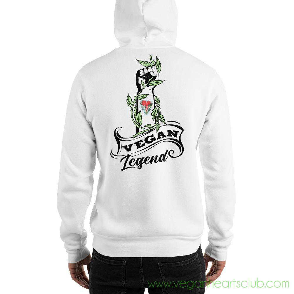 Limited Edition Vegan Legend Raised Fist (front and back print) Mens Hoodie
