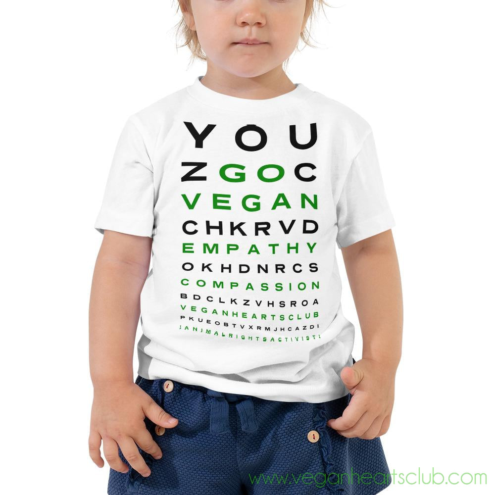 GO VEGAN Eye Chart Toddler light color Short Sleeve Tee