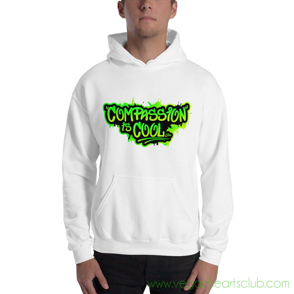 Compassion is COOL Green Graffiti Mens Hoodie