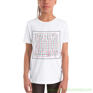 Vegan Word Search Youth light color Short Sleeve T-Shirt