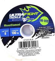 UltraFight UF220-8 Pound 100 Yard Spool Fishing Line Hi Viz Yellow Monofilament…