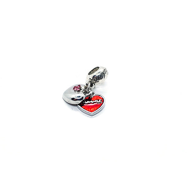 PINK OPEN HEART CHARM - Disney Jewelry Jewellery Mickey Mouse Minnie