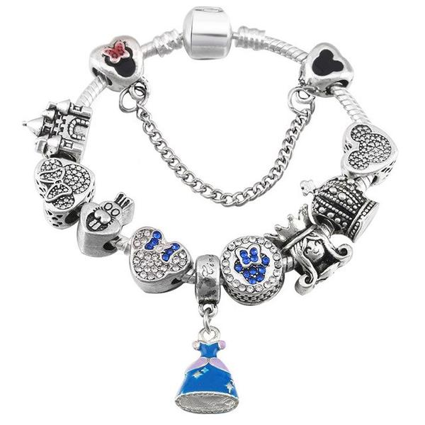 BLUE DRESS PRINCESS BRACELET - Disney Jewelry Jewellery Mickey Mouse Minnie
