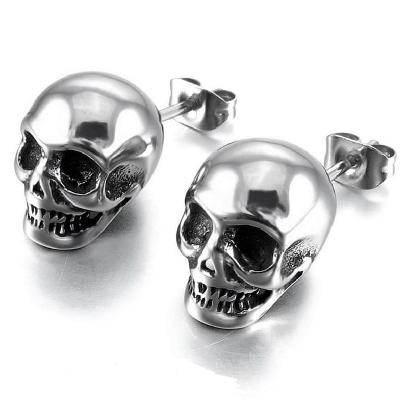 FREE Titanium Skull Stud Earrings - FLASH SALE - Silver - earring
