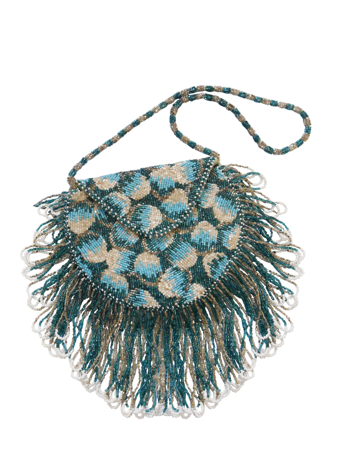 Antique 1920s Beaded Fringed Flapper Evening Bag