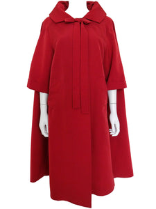 1960s Vintage Opera Coat Red Evening Coat Size S