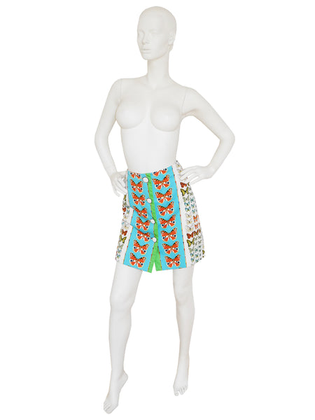 Sold - GIANNI VERSACE Couture S/S 1995 Butterfly Print Skirt Size XS