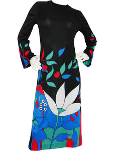 Sold - LOUIS FÉRAUD c. 1970 Vintage Graphic Printed Dress Size M-L