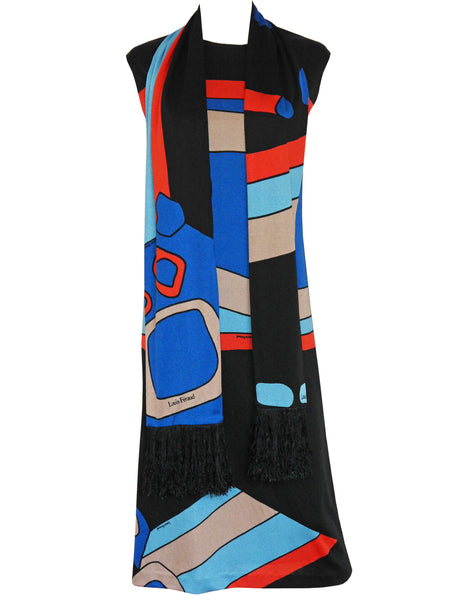 Sold - LOUIS FÉRAUD c. 1969 Vintage Printed Dress w/ Scarf Size XS