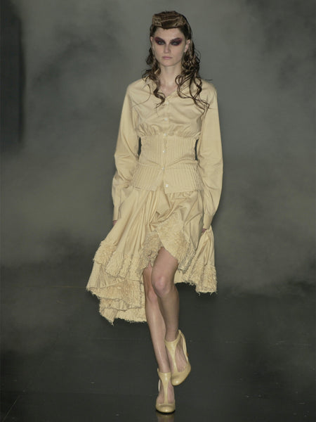 "ALEXANDER MCQUEEN S/S 2002 ""Dance of the Twisted Bull"" Ultrawide Asymmetrical Ruffled Skirt Size S"