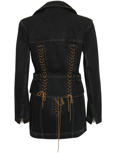 ALAIA Black Denim Moto Lace-Up Jacket & Skirt Set Size XS