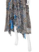 Sold - BALENCIAGA by Nicolas Ghesquière 2005 Ikat Paisley Silk & Lace Peasant Maxi Dress Size XS