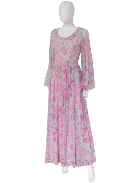 Sold - BESSI 1970s Silk Jersey & Chiffon Maxi Evening Gown Size M-L
