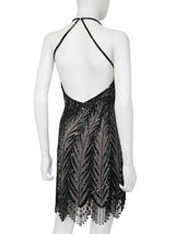 BOB MACKIE Vintage Fringed Beaded Flapper Style Evening Dress w/ Open Back Size XS-S