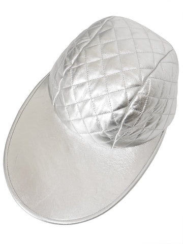 Sold - CHANEL A/W 1991/92 Vintage Silver Quilted Lambskin Leather Cap Size XS