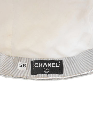 Sold - CHANEL Fall 1991 Vintage Silver Quilted Lambskin Leather Cap Size XS
