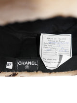 CHANEL Fall 1991 Vintage Leopard Print Sheared Mink Fur Accessory Set - Hat, Collar, Gloves