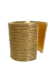 Sold - CHANEL Numbered Braided Signature Cuff Gold One-Size