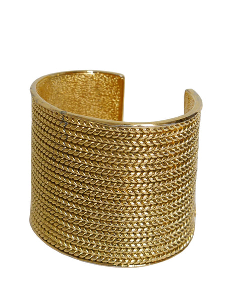 CHANEL Numbered Braided Signature Cuff Gold One-Size