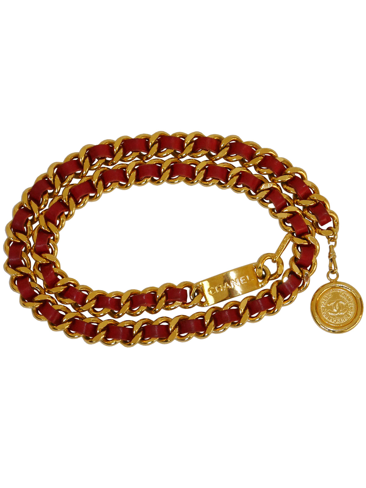 Sold - CHANEL Vintage Signature Chain Belt Gold Red Size S-M-L