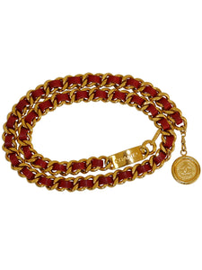 CHANEL Vintage Signature Chain Belt Gold Red Size S-M-L