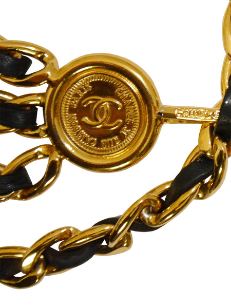 CHANEL 1990s Vintage 3 Strand Chain Belt Black Leather Size S
