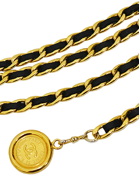 Sold - CHANEL 1990s Vintage 3 Strand Chain Belt Black Leather Size S