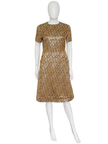 CHRISTIAN DIOR 1960s Vintage Brocade Cocktail Dress Size S-M