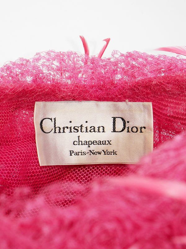 CHRISTIAN DIOR 1960s Vintage Pink Tulle Feather Hat Size S-M