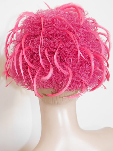 CHRISTIAN DIOR 1960s Vintage Pink Tulle Feather Hat