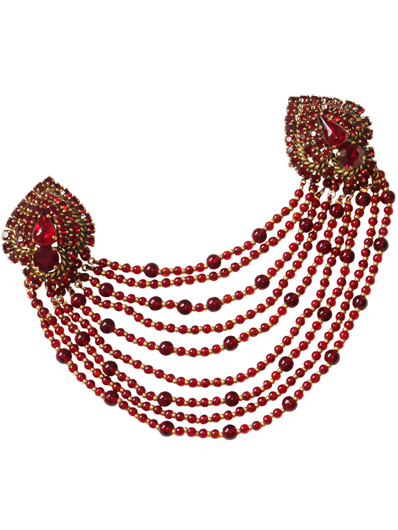 Sold - CHRISTIAN DIOR 1964 Vintage Large Garnet Red Bead & Crystal Brooch