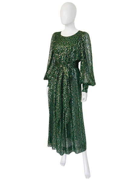CHRISTIAN DIOR 1970s Vintage Silk Lamé Evening Dress Size M-L