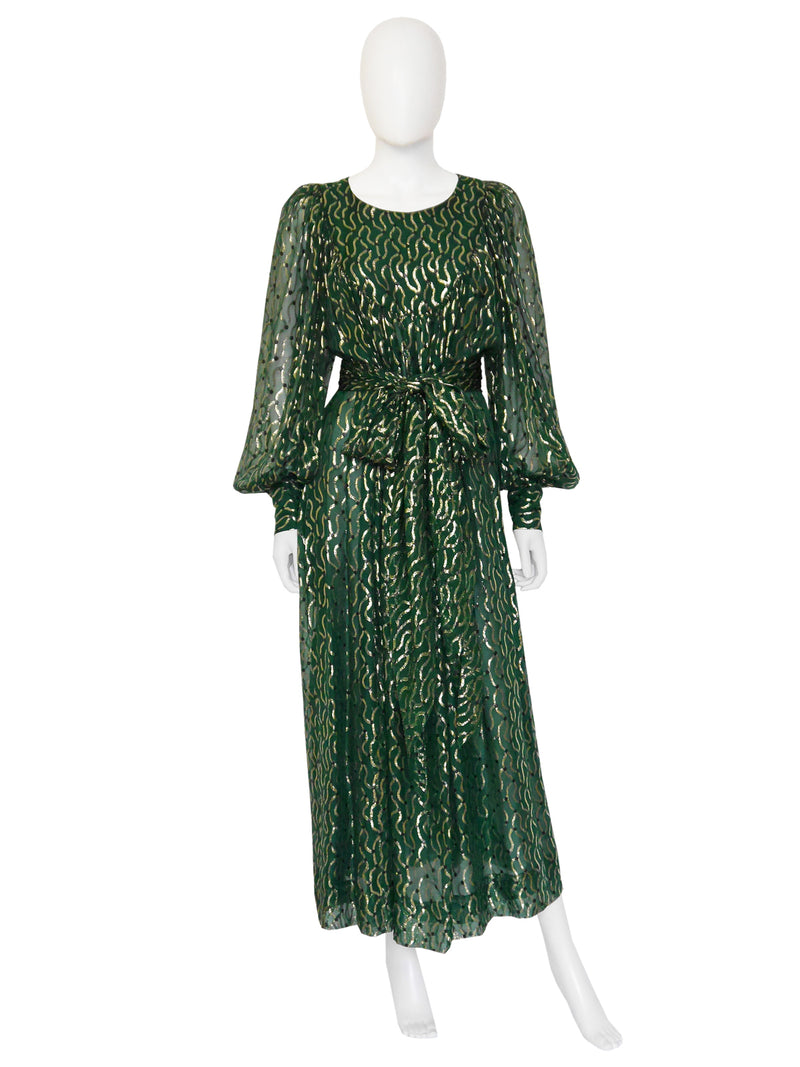 Sold - CHRISTIAN DIOR 1970s Vintage Silk Lamé Evening Dress Size M-L