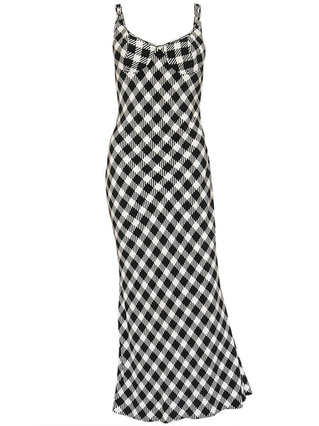 Sold - CHRISTIAN DIOR S/S 1995 Vintage Houndstooth Maxi Dress Size S
