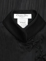 Sold - CHRISTIAN DIOR Spring 1999 Vintage Pleated Beaded High-Low Cheongsam Silk Top Size XS