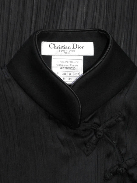 CHRISTIAN DIOR Spring 1999 Vintage Pleated Beaded High-Low Cheongsam Silk Top Size XS