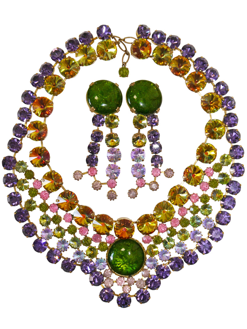 Countess CIS Cissy Zoltowska 1950s 1960s Vintage Demi Parure Aurora Borealis Necklace Earrings Jewelry Set